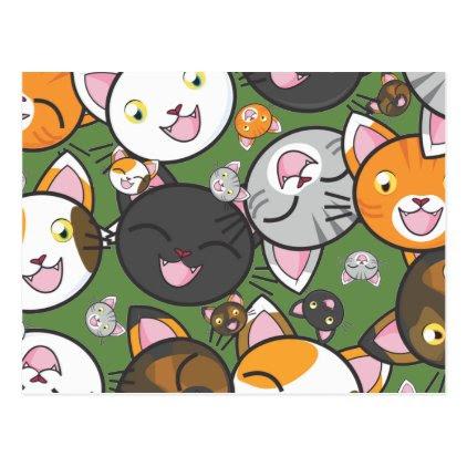 Kawaii Kitty Postcard (Choose color)