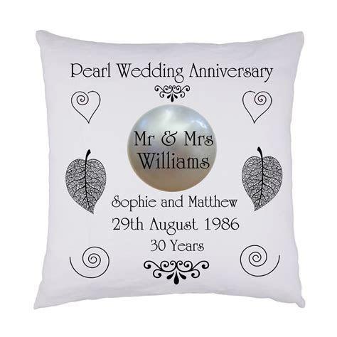 Pearl Wedding keepsake cushion personalised names & date