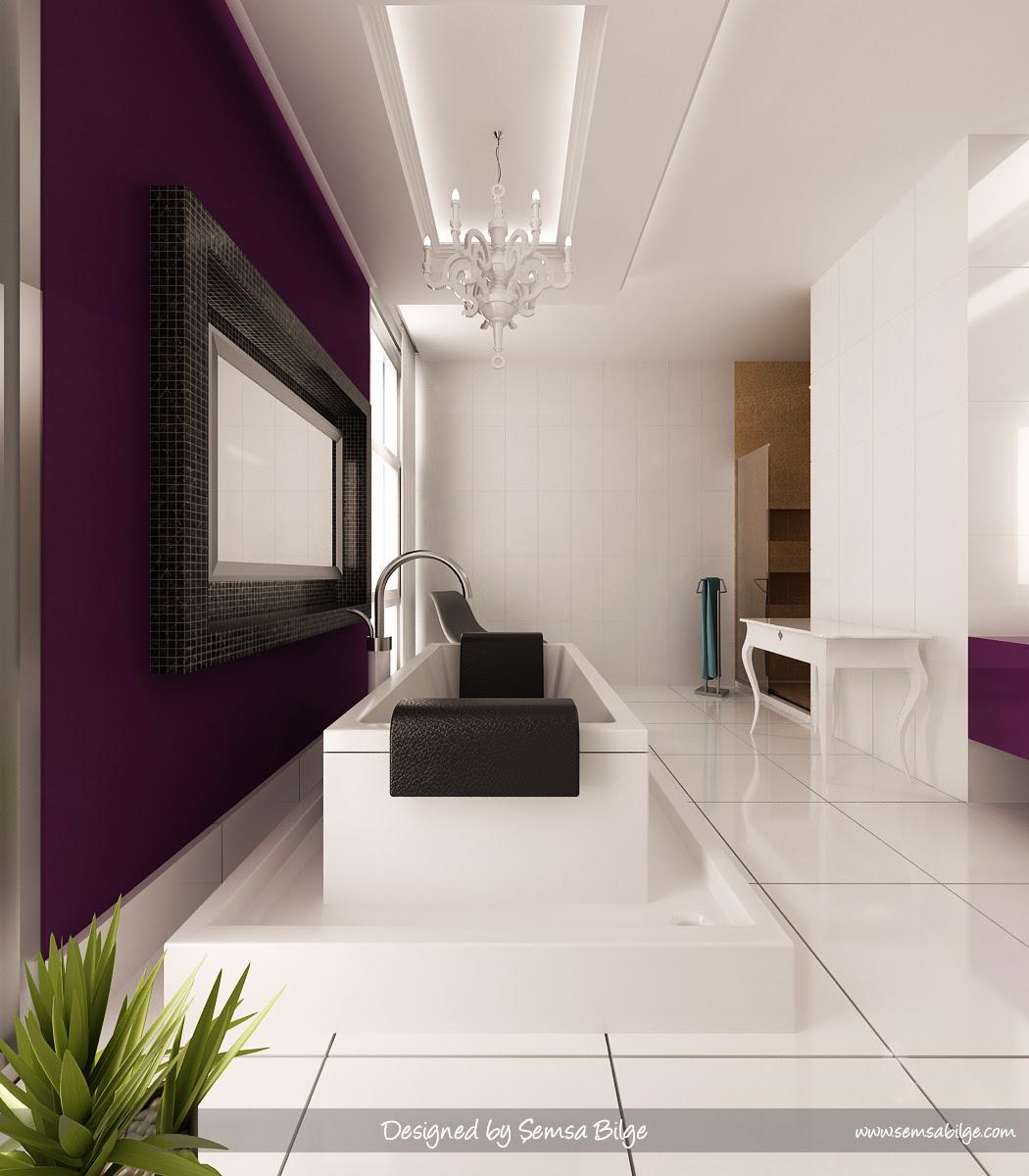 black white and purple bathroom 2017 - Grasscloth Wallpaper