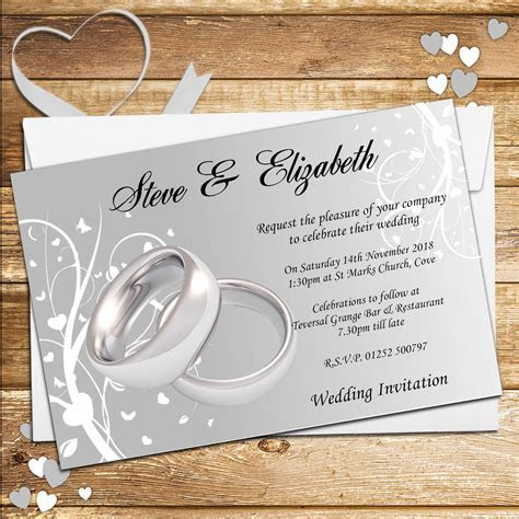 10 Personalised Wedding Invitations Day Evening N44 Silver