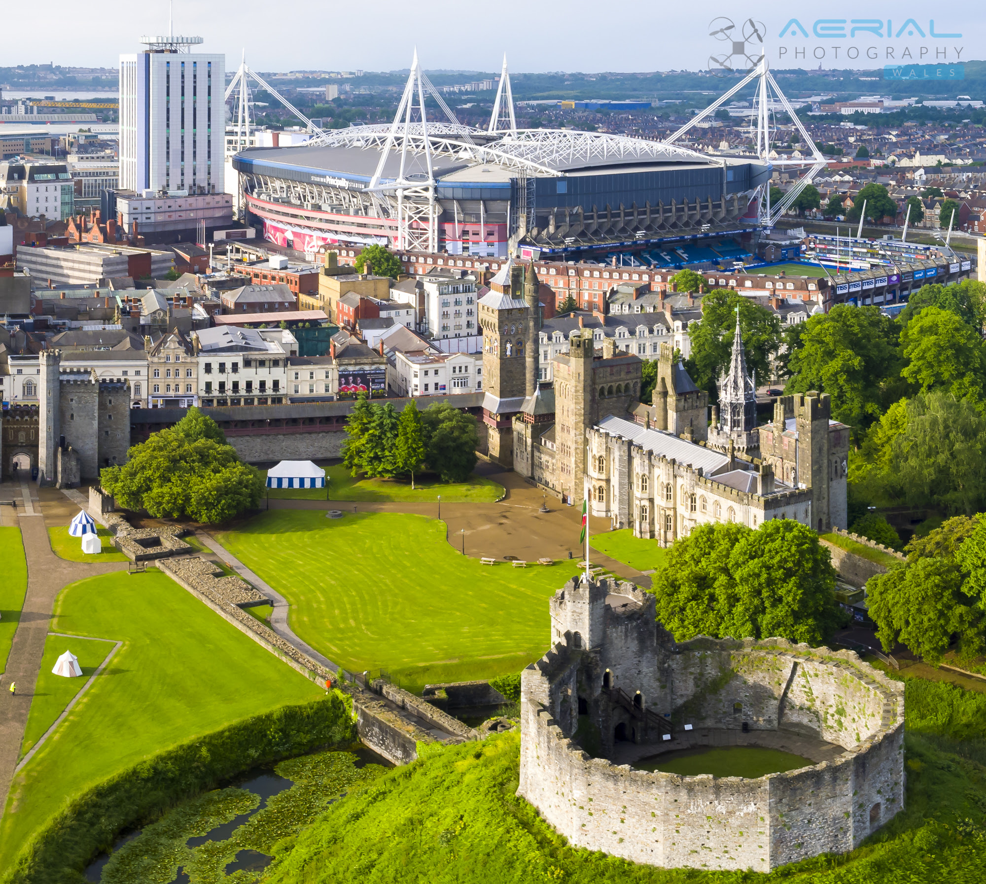 Aerial Filming in Cardiff Castle  Aerial Photography