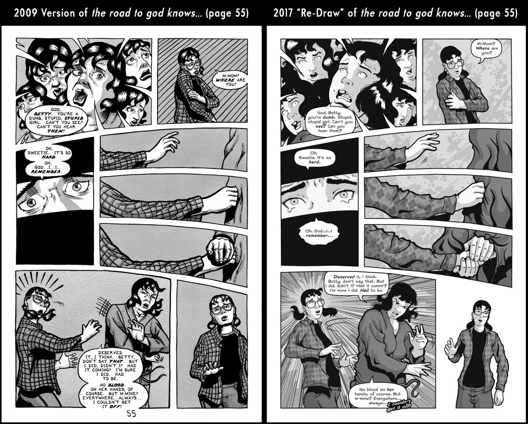 Comparison between page 55 from the 2009 published version of the road to god knows... and the 2017 redrawn version by Von Allan