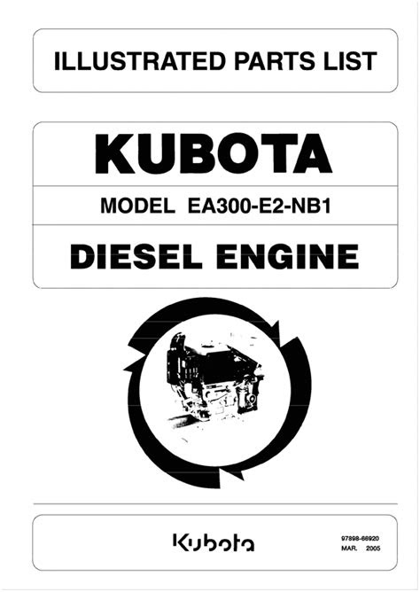 KUBOTA EA300 DIESEL ENGINE PARTS LIST - Tradebit
