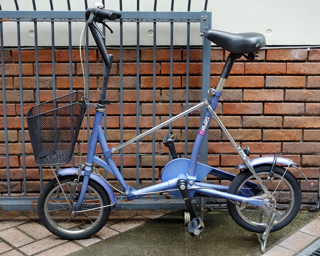 "Motomachi purple ""one touch picnica"" folding bicycle"