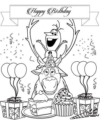 Kristoff Anna Olaf Surprise Birthday Coloring Page - Free ...