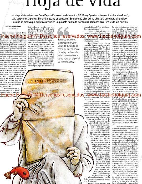 Ilustración sobre el desempleo para El Tiempo, diciembre, por Hache Holguín