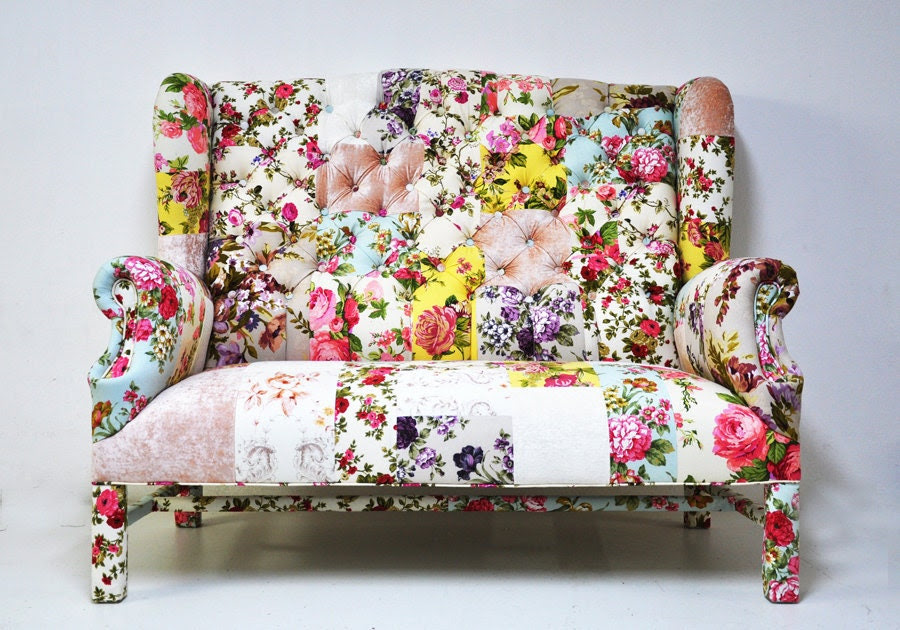 floral Wing Back-patchwork sofa