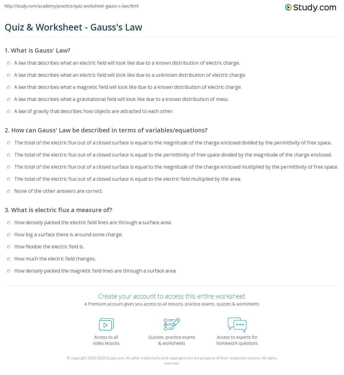 quiz worksheet gauss s law