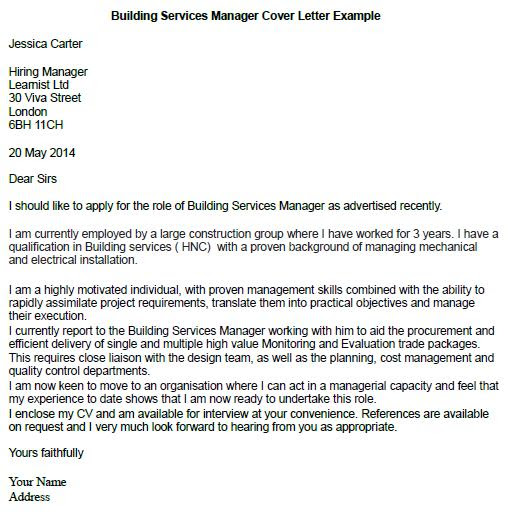 Building Services Manager Cover Letter Example Learnist Org