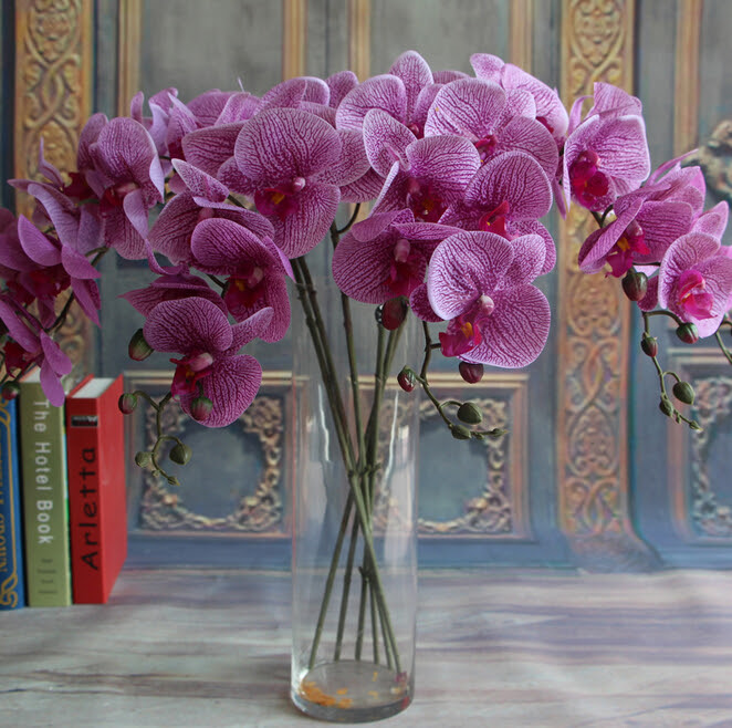 Gnw Purple Artificial Orchids Wholesale Latex Flowers