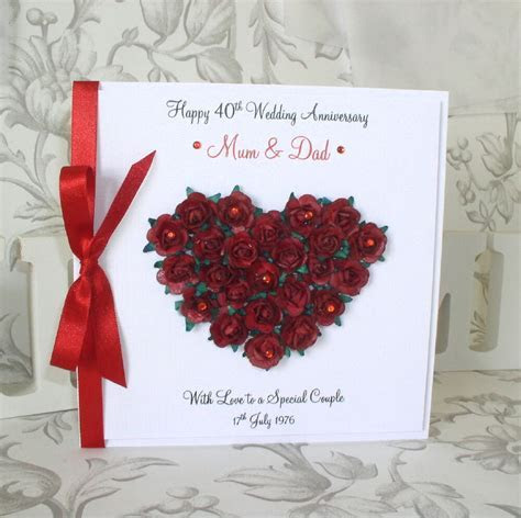 Luxury Ruby Wedding Anniversary Card   Personalised   Red