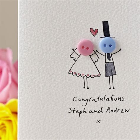 personalised 'button wedding' hand illustrated card by