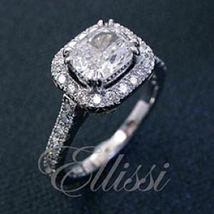 """Julia"" Cushion cut diamond cluster ring.   Ellissi Jewellery"