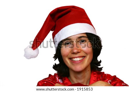 stock photo : Smiling young girl disguised in Santa Claus.