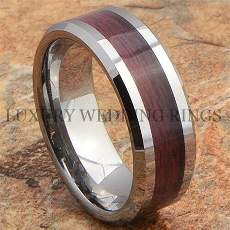 Tungsten Mens Ring Wood Wedding Band Bridal Jewelry