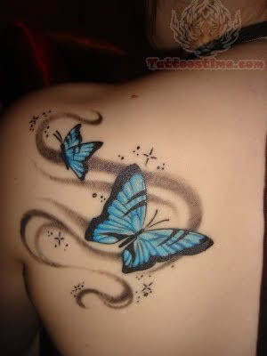 Feminine Sparkly Blue Butterfly Upper Back Shoulder Tattoo Designs