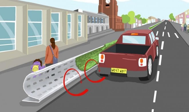 Остроумный дорожный барьер защитит пешеходов от автомобильных выхлопов