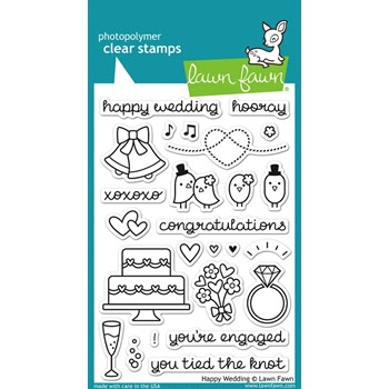 Lawn Fawn HAPPY WEDDING Clear Stamps LF887