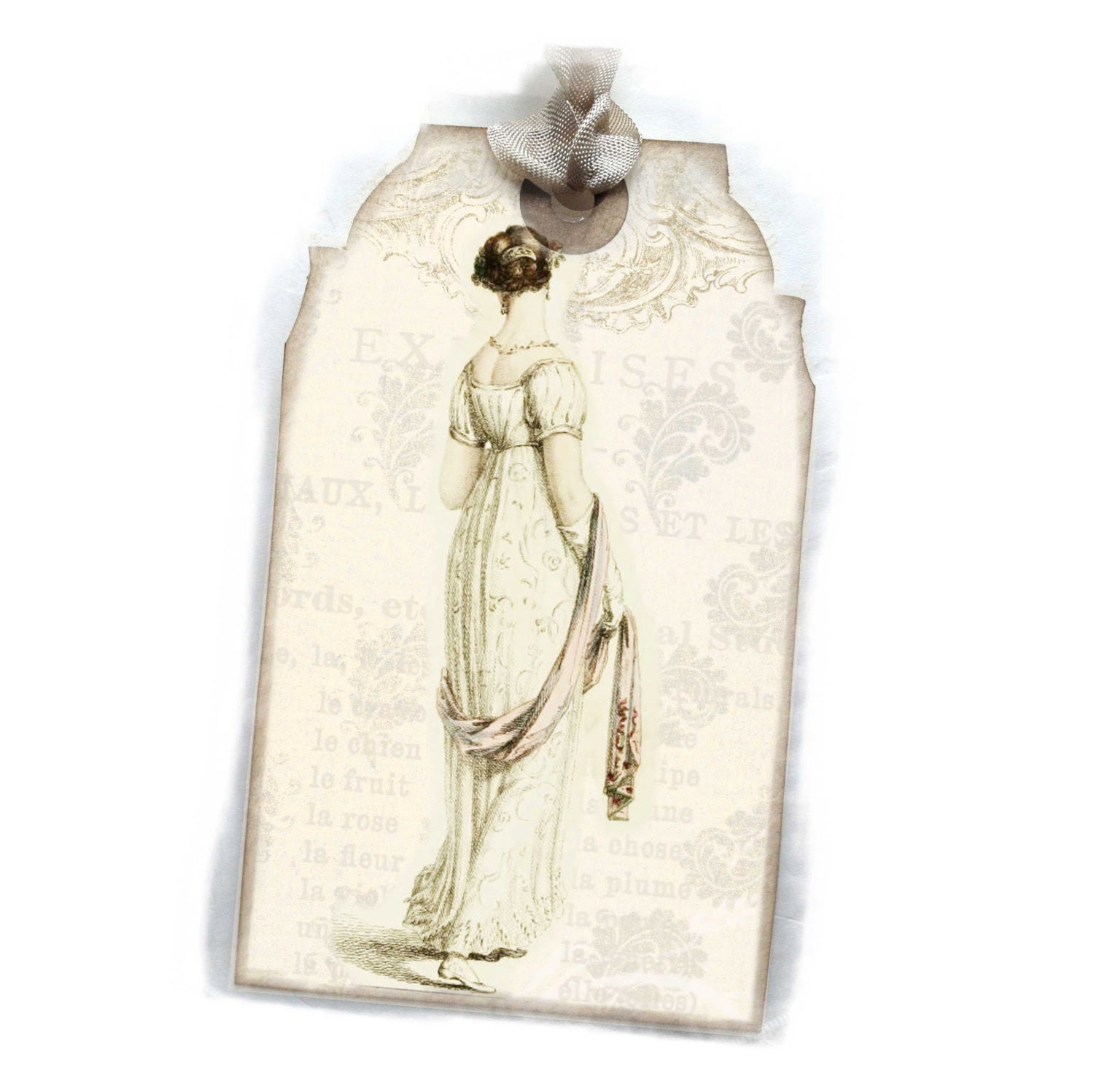Jane Austen Tag Gift Tag Six Regency 19th Century Bridal  Paris Fashion Beauties  Bookmark Pale Gray and Cream - lacegrl130