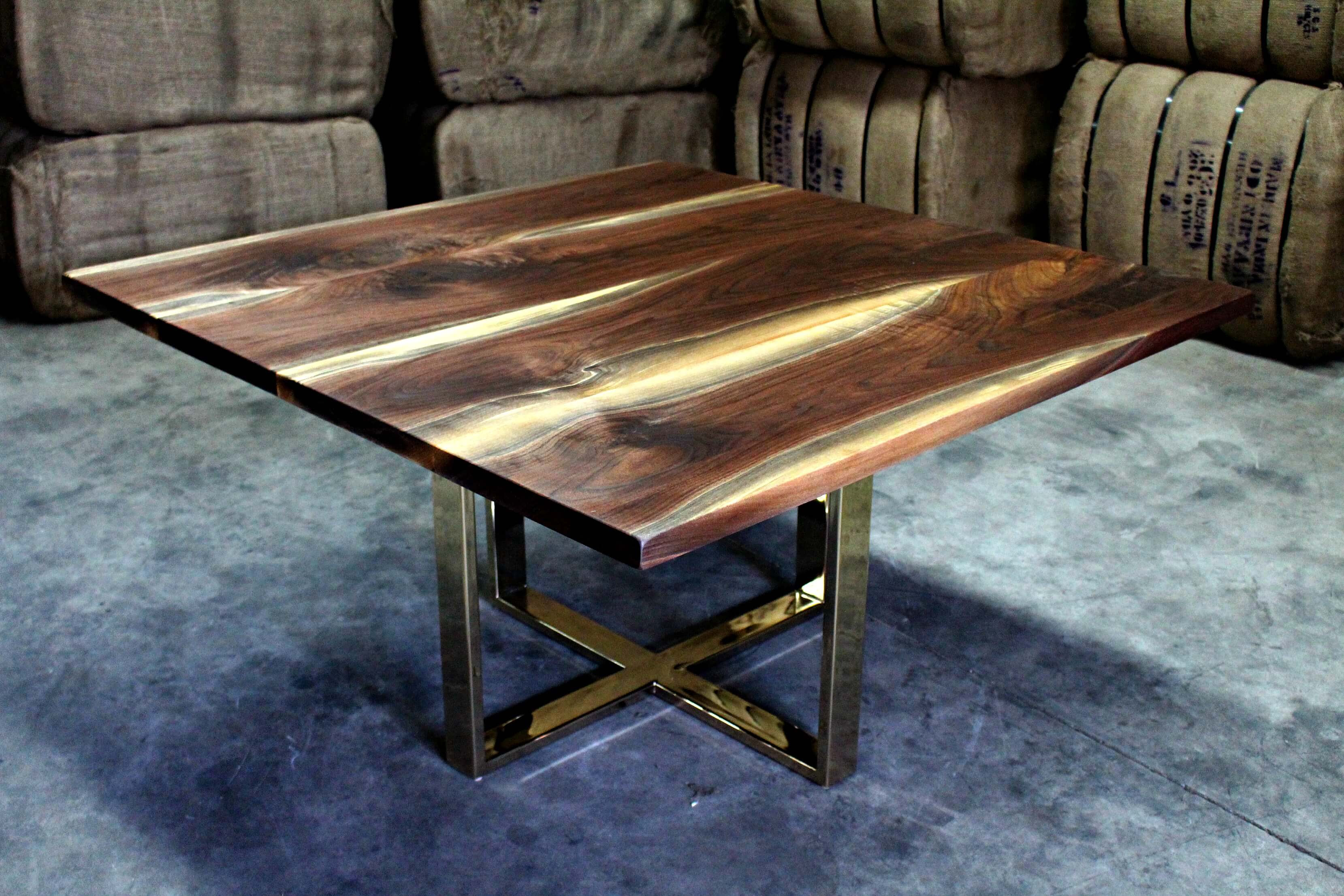 Brass brings new elegance to modern walnut tables Living ...