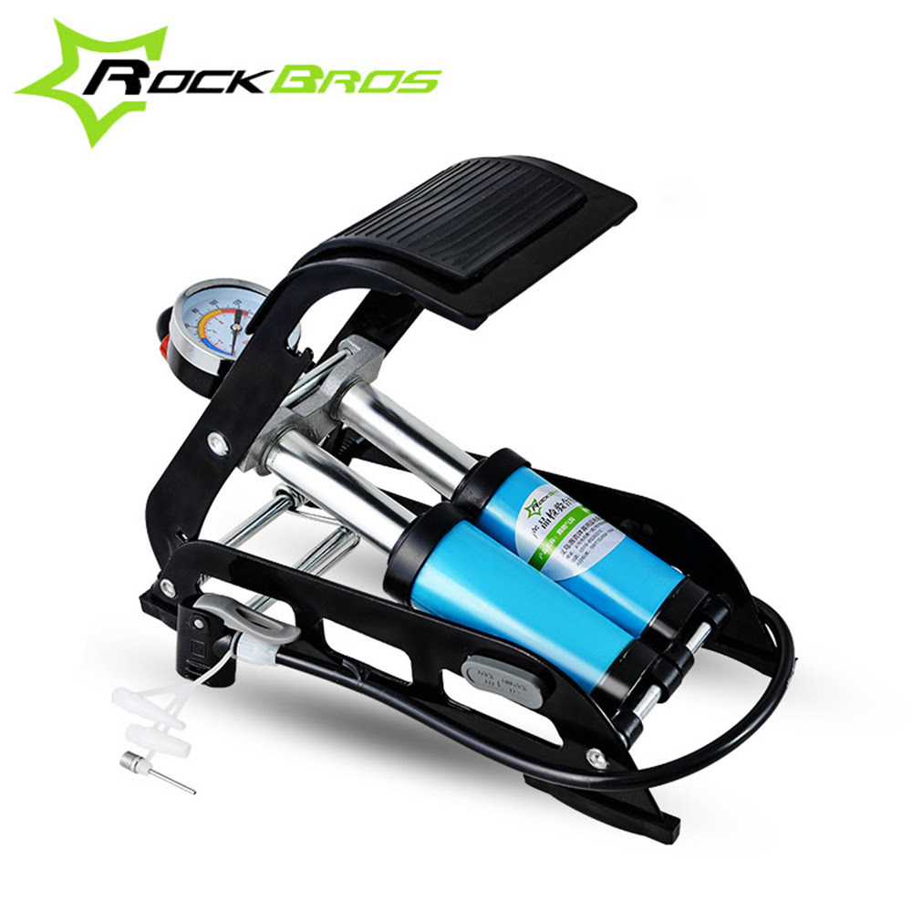 Rockbros High Pressure Tire Air Inflatable Pump Foot Inflator With Gauge For Car Vehicle
