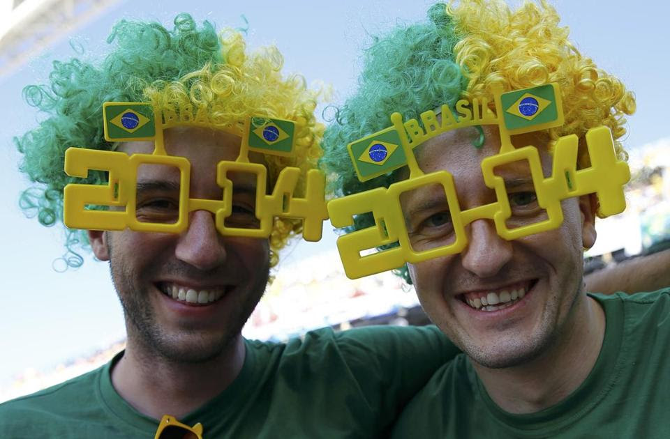 Fans from Switzerland attended the opening ceremony of the 2014 World Cup opening match at the Corinthians arena in Sao Paulo, Brazil, on June 12.