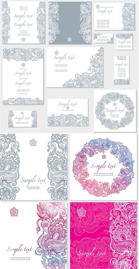 Floral ornate wedding invitation templates vector   design