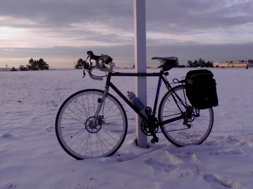 Snow and Bike on Gravelly Pt