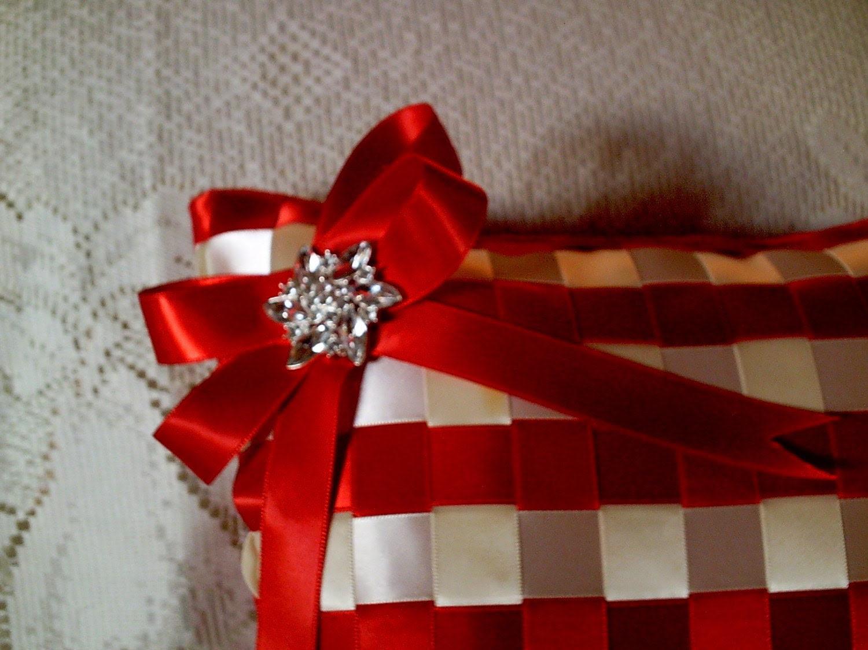 Ribbon Weave Accent Pillow - Satin Ribbons - Velvet