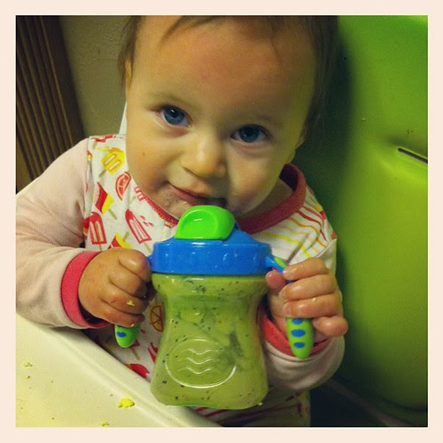 Jamming to Stoney Larue and sucking down my latest concoction... Avocado + Pear + Blueberry + Goat's Milk. This child will eat anything in smoothie form.