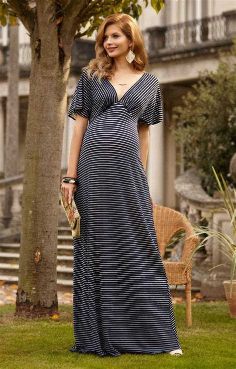 Celia Maternity Maxi Dress Navy Stripe   Maternity Wedding