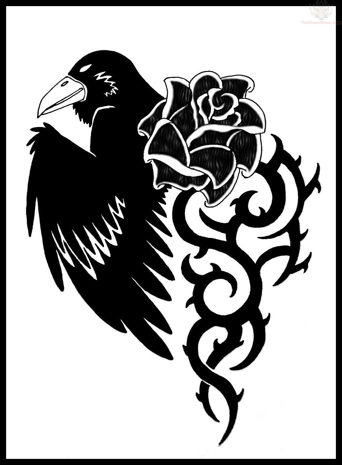 Black Raven And Tribal Flower Tattoo Design