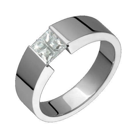 Mens Titanium Ring with White Cubic Zirconia Engagement