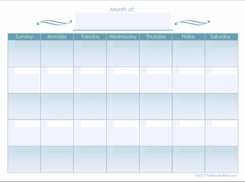 Monthly Calendar (editable) - The Peaceful Mom