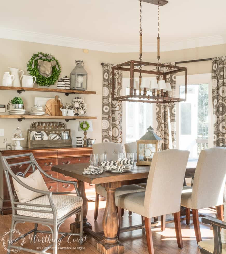 Amazing before and after of a rustic farmhouse breakfast area || Worthing Court