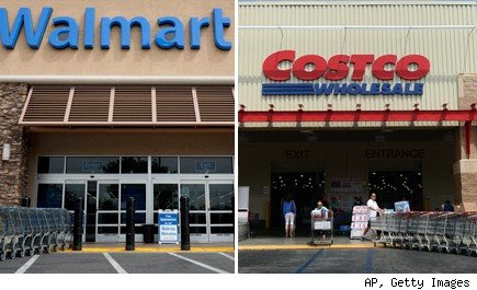 Walmart storefront and Costco storefront shown in photo composi