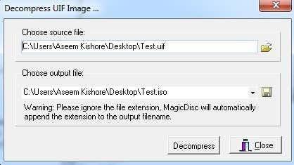 decompress magiciso