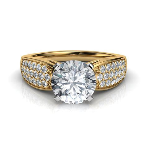 Wide Band Pavé Round Cut Diamond Engagement Ring Natalie