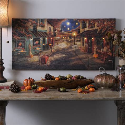 autumn village downtown led canvas art print autumn art