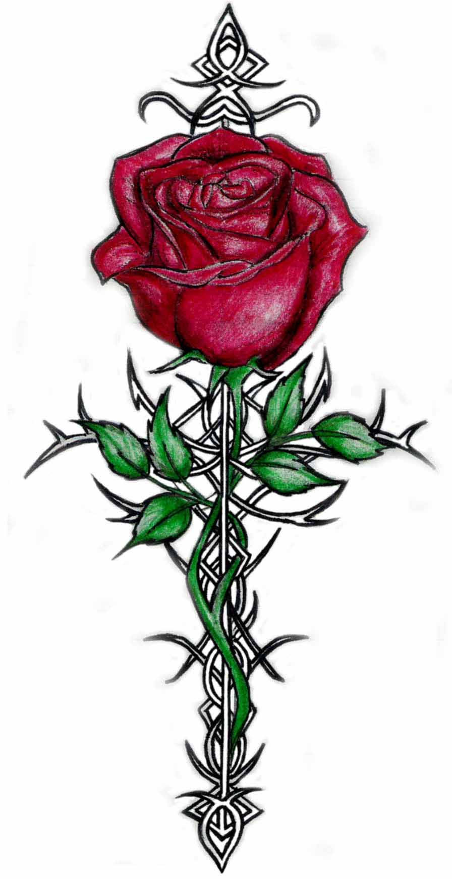 Images For Heart And Rose Tattoos Designs Clip Art Library