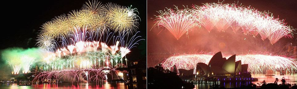 Fireworks light up the skyline over Sydney Harbour during the midnight fireworks session