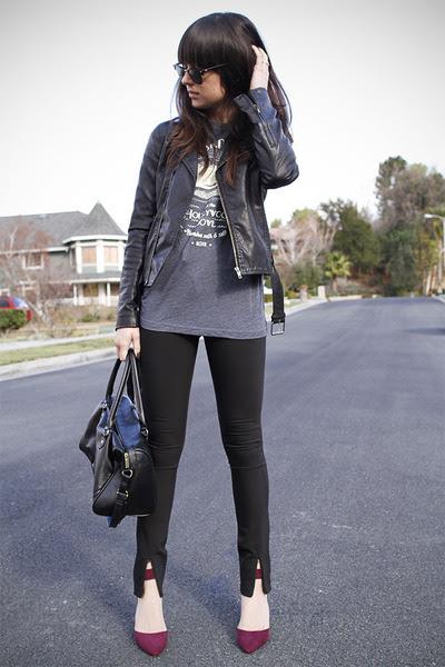 Black-front-slit-pants-magenta-heels