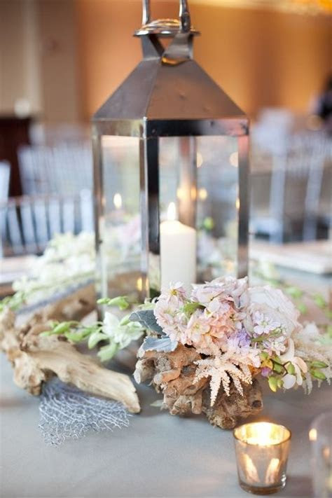 Lantern Centerpieces with Driftwood and White, Blush and