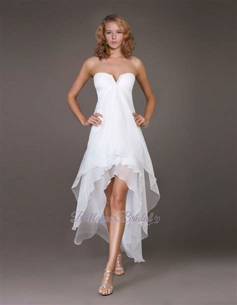 White/Blue Strapless V neck High Low Wedding Guests Dress