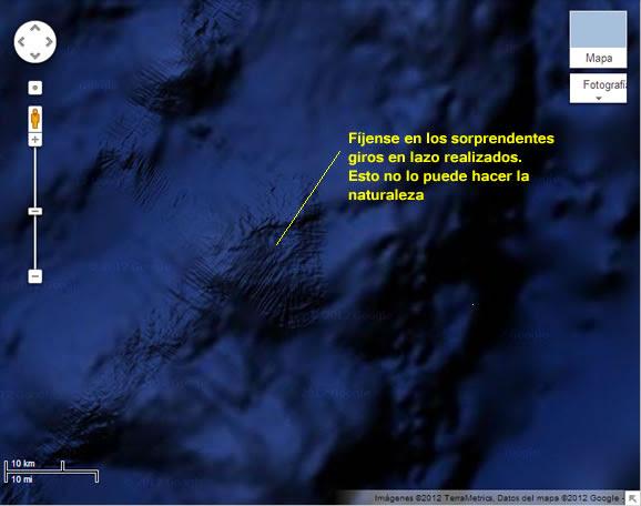 Evidencia de pistas en el fondo marino del Océano Pacífico