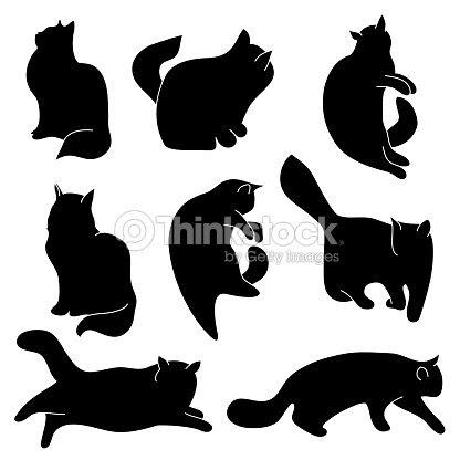 Vector Conjunto De Siluetas De Gato Diferentes Posturas Sentado