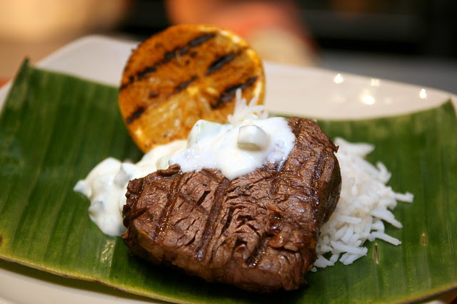Grilled Lemon and Spiced Beef with Raita