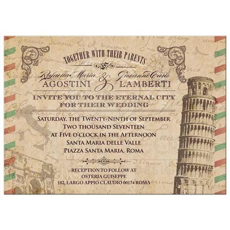 Wedding Invitation   Vintage Italian Airmail Parchment Look