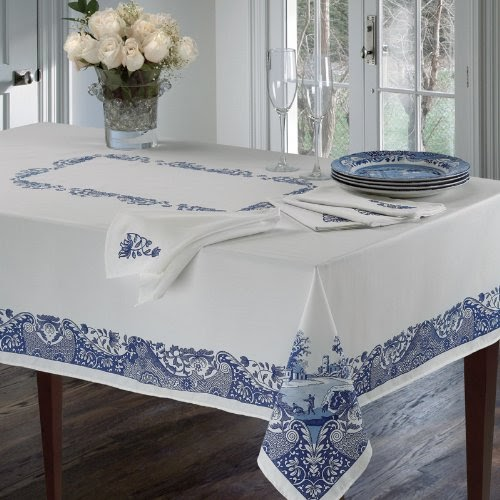 "Spode Table Linens, Blue Italian 60"" x 144"" Tablecloth ..."