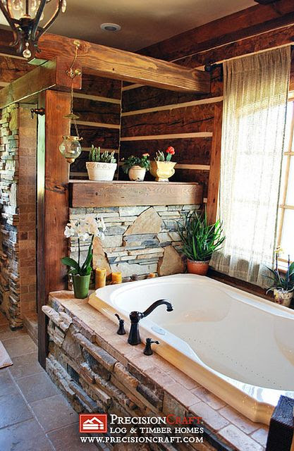 Stacked stone around tub  The Master Bath in this Log & Timber Hybrid Home by PrecisionCraft Log Homes & Timber Frame, via Flickr